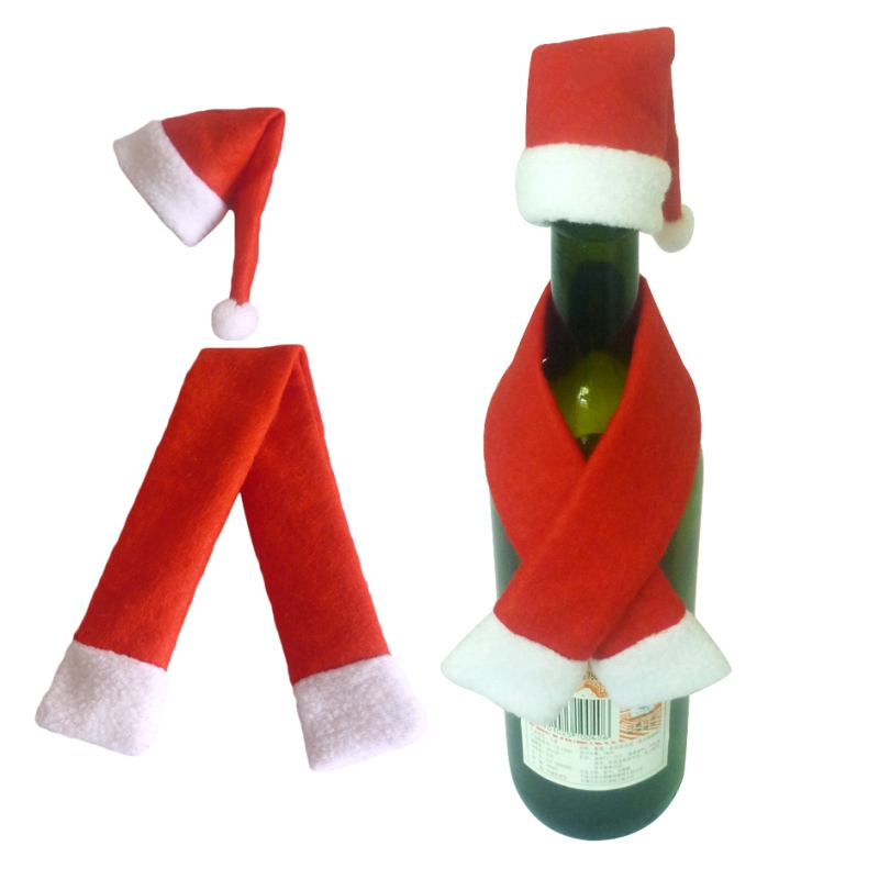 Christmas Gift Decoration Festival Glass Hat Scarf Wine Bottle Cover Decoration Event Pa ...