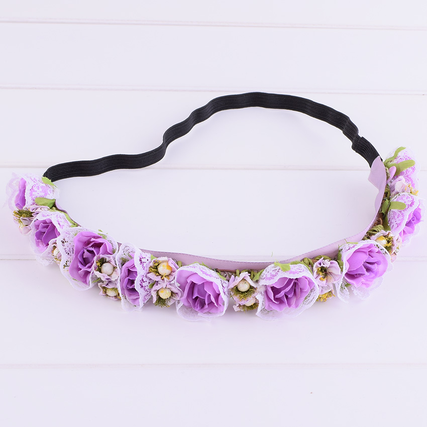 CXADDITIONS Multi Color Lace Rose Floral Bride Headband Wedding Party Festival Decor Travel Photography Girl Garland Headpiece