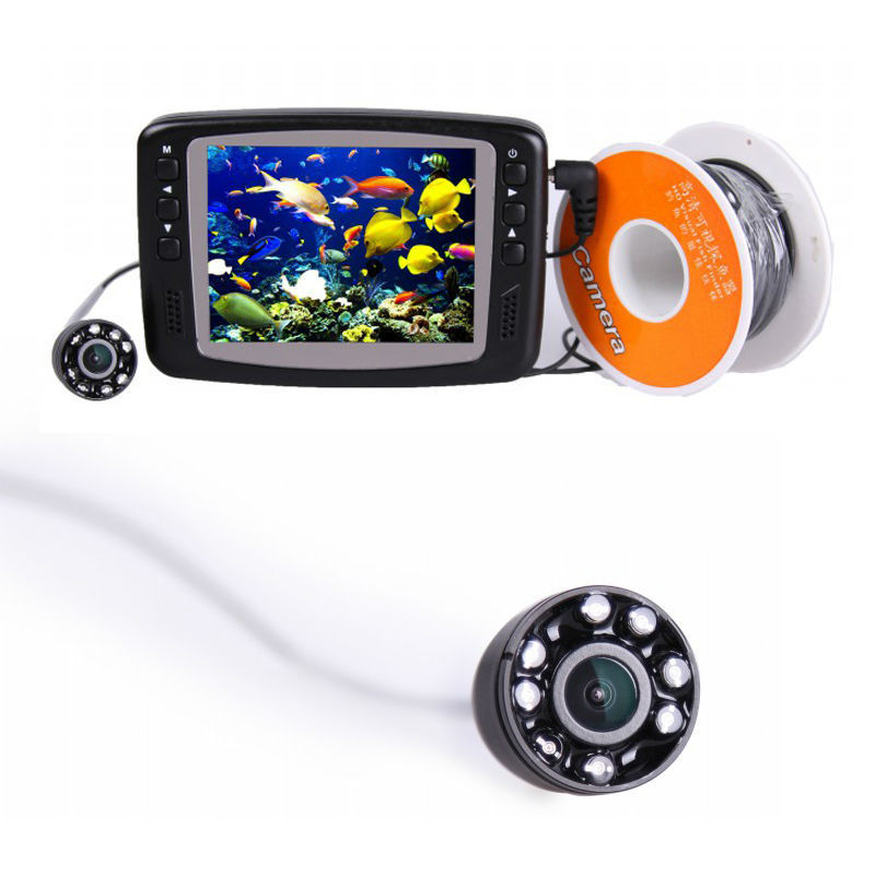 Waterproof Monitoring System Underwater Camera For Fishing Video Fish Finder 3.5'' Color LCD Monitor 8 LED Light 15m Cable 2 4g wireless fish finder underwater fishing camera video free soft app 50m underwater breeding monitoring for fish searching