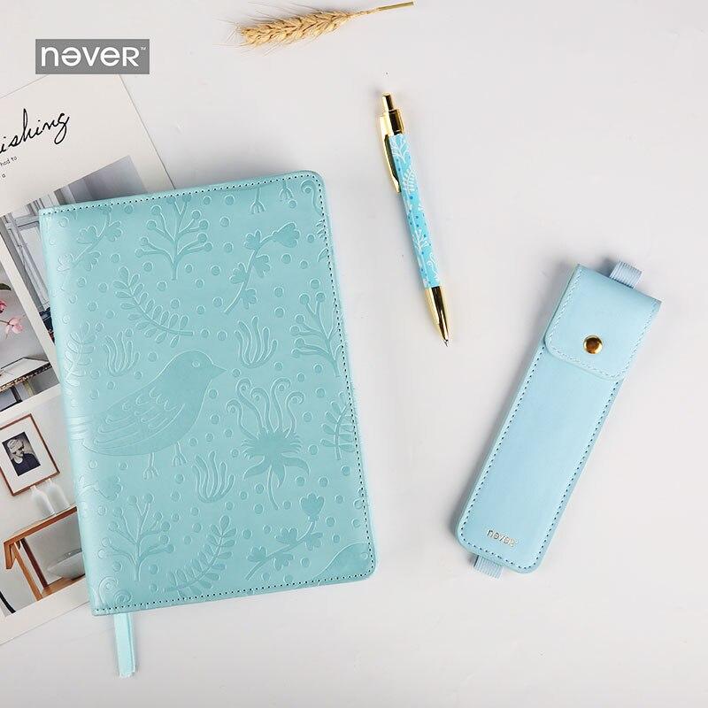 Jamais fleur balle Journal planificateur papeterie ensemble A5 cahier en cuir synthétique polyuréthane crayon sac métal stylo entreprise bureau cadeau Kit fournitures