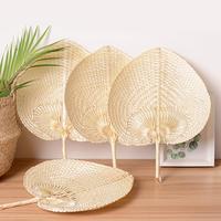 Pushan artes feito à mão fã em forma de pêssego ventilador de bambu verão ventilador de ar fresco diy característica|Leques decorativos|Casa e Jardim -