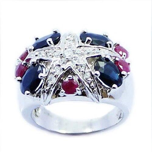 2017 nouveau Qi Xuan_Fashion bijoux _ bleu foncé pierre étoile de mer Rings_Real Rings_S925 solide argent rings_fabricant directement ventes