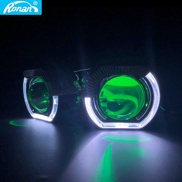 "Ronan 2.5 ""عدسة إسقاط ثنائية الزينون مع LED عيون الملاك shrouds الشيطان عيون أحمر أزرق RGB ل Univeral H1 H4 H7 المقبس سيارة التحديثية"