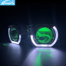 """Ronan 2.5 """"bi xenon projektör lens ile LED melek gözler shrouds şeytan gözler kırmızı mavi RGB evrensel H1 H4 H7 soket araba güçlendirme"""