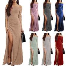 Slit Slash Neck Plus Size Bag Hip Dress Dinner Women Fashion Overlay Three Quarter Sleeve Stitching Irregular Belt