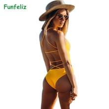 Фотография One piece Swimwear Female Backless Bandage Bikini Yellow Monokini Sexy High Wasit Bathing Suit for Women Solid Color Bather