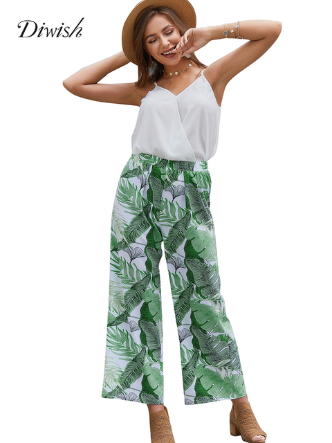 Diwish Women Two Piece Trousers Set Holiday Spaghetti Tank Top + Print Loose Long Pants Streetwear Summer Beach Printed Outfits