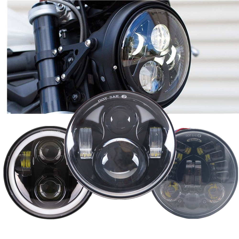 Motorcycle Headlight 5 3/4 5.75 Inch Projector Headlight DRL for Yamaha for Cafe Racer Bobber for Honda Motorbikes 40W 45W 80W|  - title=