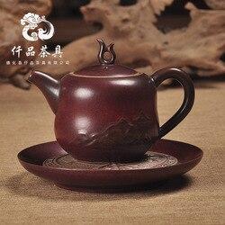 Boże narodzenie starożytnej ceramiki. Retro żelaza. Czerwony. Krystaliczny glazury. Kreatywny Qingfeng ulga garnek