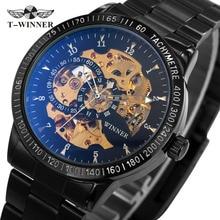 2017 WINNER Men Automatic Mechanical Watch Stainless Steel Watchband Men Wristwatch Golden Skeleton Dial Top Luxury Brand +BOX