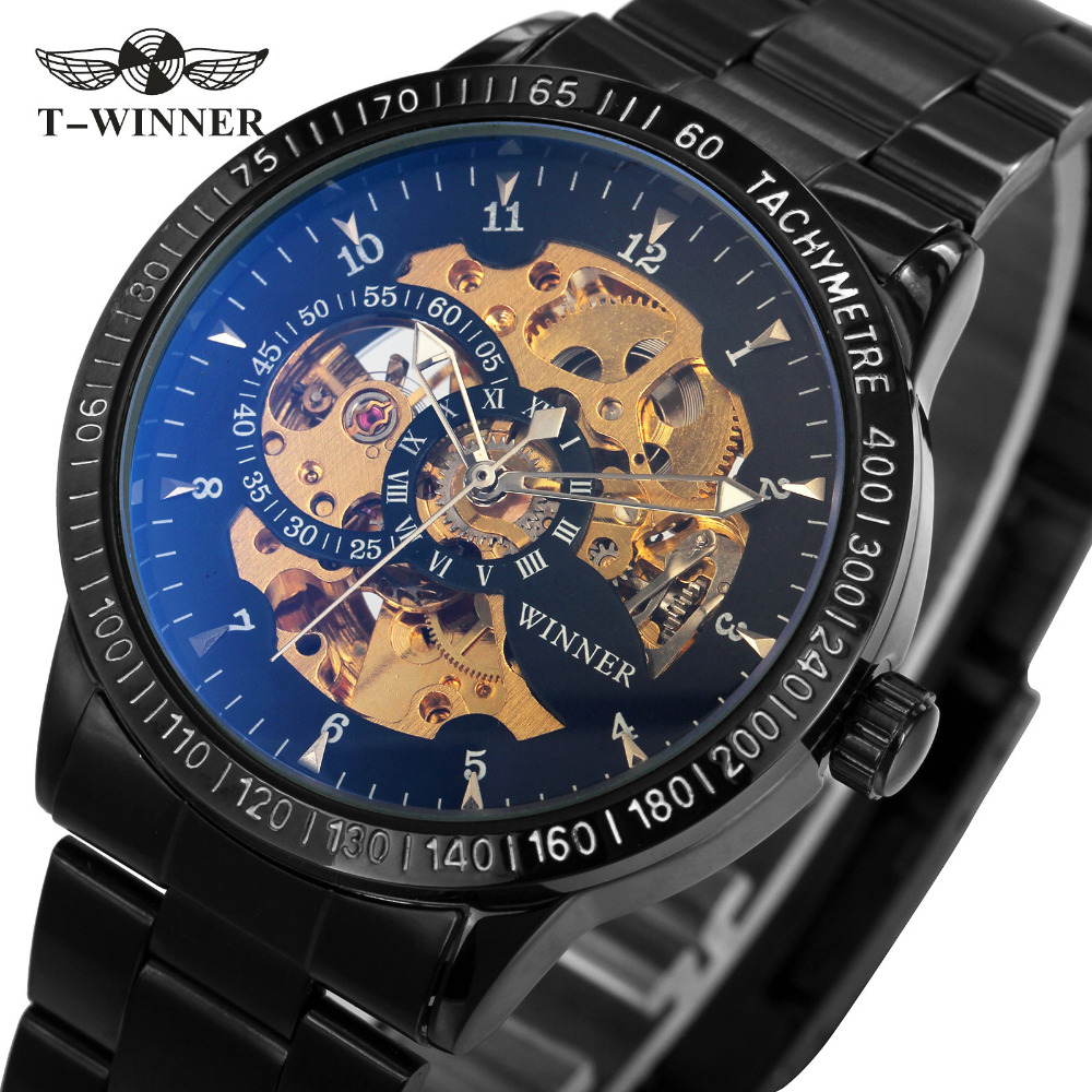 2018 WINNER Men Automatic Mechanical Watch Stainless Steel Watchband Men Wristwatch Golden Skeleton Dial Top Luxury Brand +BOX winner men fashion cool black automatic mechanical watch rubber strap skeleton dial automatic dial design sport style wristwatch