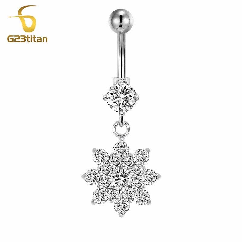 G23titan Big Crystal Flower Belings Rings Hypoallergenic 14G G23 - Κοσμήματα μόδας - Φωτογραφία 6