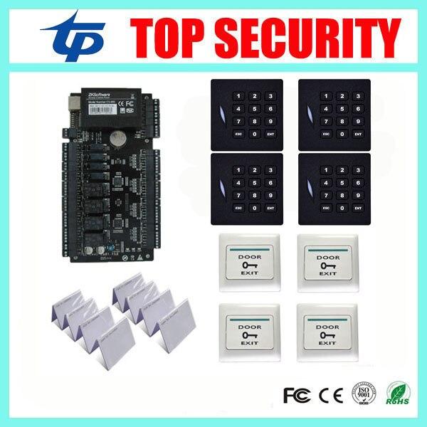 ZK C3-400 4 doors access control system access control panel with 4pcs KR102E RFID card reader, 4pcs plastic exit button