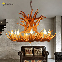 Europe Country 9 Head Candle Antler Chandelier American Retro Resin Deer Horn Lamps Home Decoration Lighting