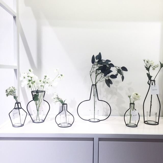 Nordic Modern Minimalist Decorative Metal Vase Aritifical Flower
