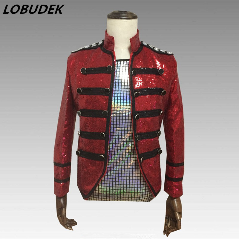 Tide Male Double breasted Slim Jacket Red Sequins Jackets Punk Singer Dancer Stage Outfit Nightclub DJ Dance Host Show Costume-in Jackets from Men's Clothing    1