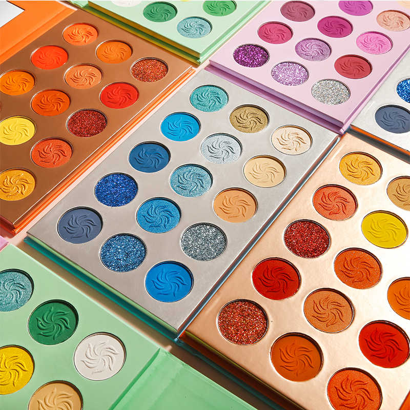 De'lanci Makeup Eyeshadow Pallet 15 Warna Terang Berpigmen Glitter Eye Shadow Palet Hijau Biru Orange Ungu Make Up Palet