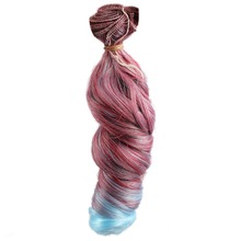 wamami Red Blue Hair Extension Piece DIY Wavy Hair Curly Wig For BJD Dollfie