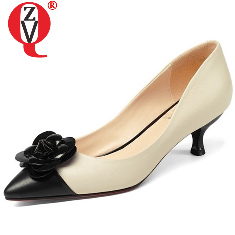ZVQ mixed colors flower decoration breathable engagement woman pumps pointed toe all match style single shoes