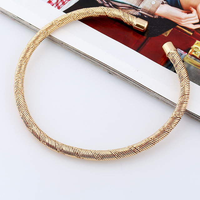 Lzhlq 2020 модное плетеное толстое металлическое колье чокер