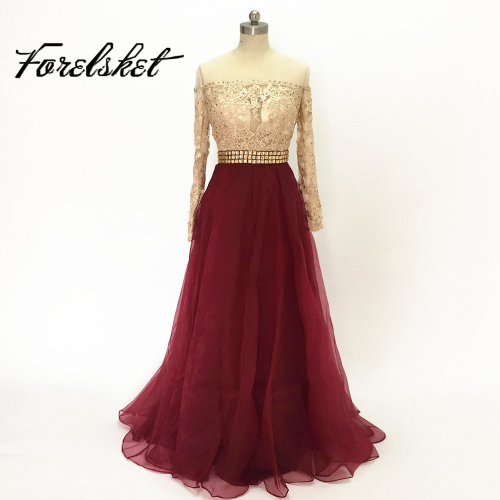 New style see through evening dresses long burgundy gold for Burgundy and gold wedding dress
