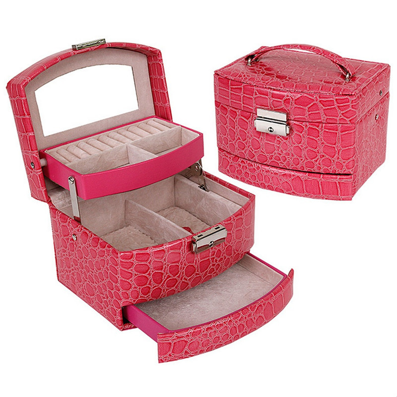 Jewelry Storage Box Fashion Double Layer PU Leather Earring Jewelry Organizer Box Display Best Gift for Lover Friend