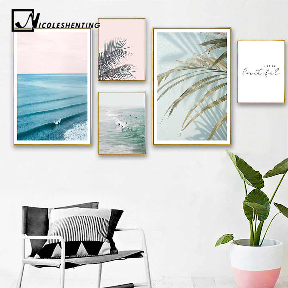 Scandinavian Tropical Decoration Sea Leaf Canvas Poster Landscape Nordic Style Wall Art Print Nature Painting Decorative Picture