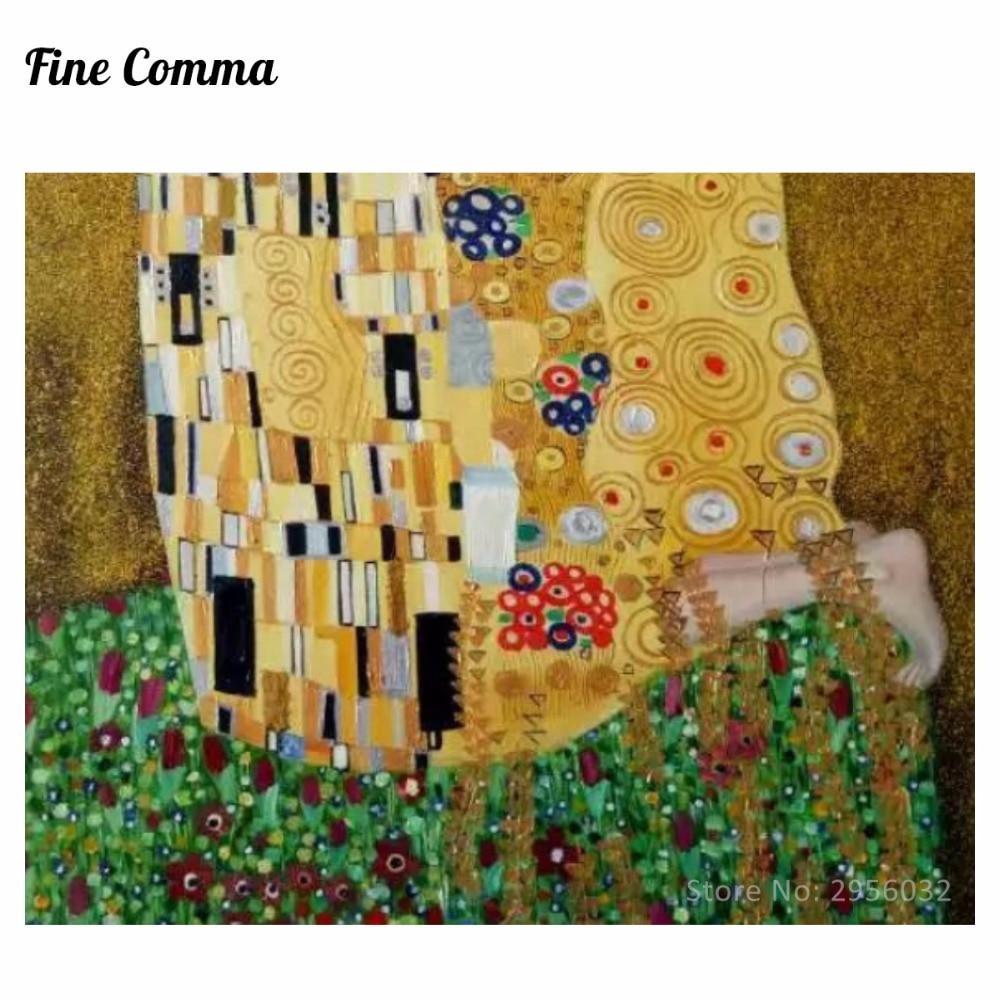 Poljub (ljubimci) avtorja Gustav Klimt slikarstvo na platnu stenske - Dekor za dom - Fotografija 6