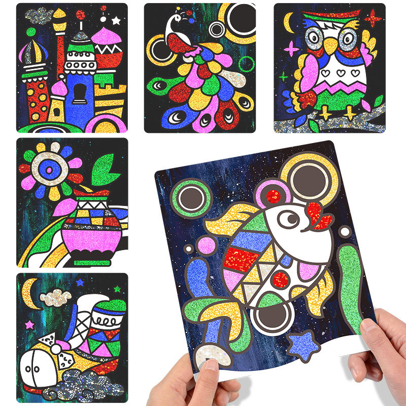 9Pcs-20Pcs Children Shining Magic Color Paper DIY Art Craft Toy Kids Creative Stickers Drawing Handmade Scratching Paper Toy