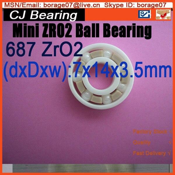 Mini ZRO2 687 7X14X5mm  618/7 ceramic ball bearing free shipping mini ceramic ball bearing zro2 687 7x14x5mm 618 7