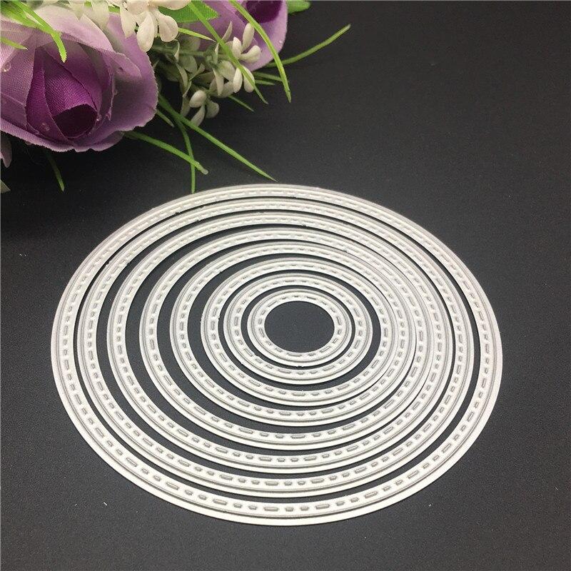 8PCS DIY Circle Metal Cutting Dies Stencils Embossing Card Scrapbooking Album Decoration Craft Die Cutting Template Folder Suit