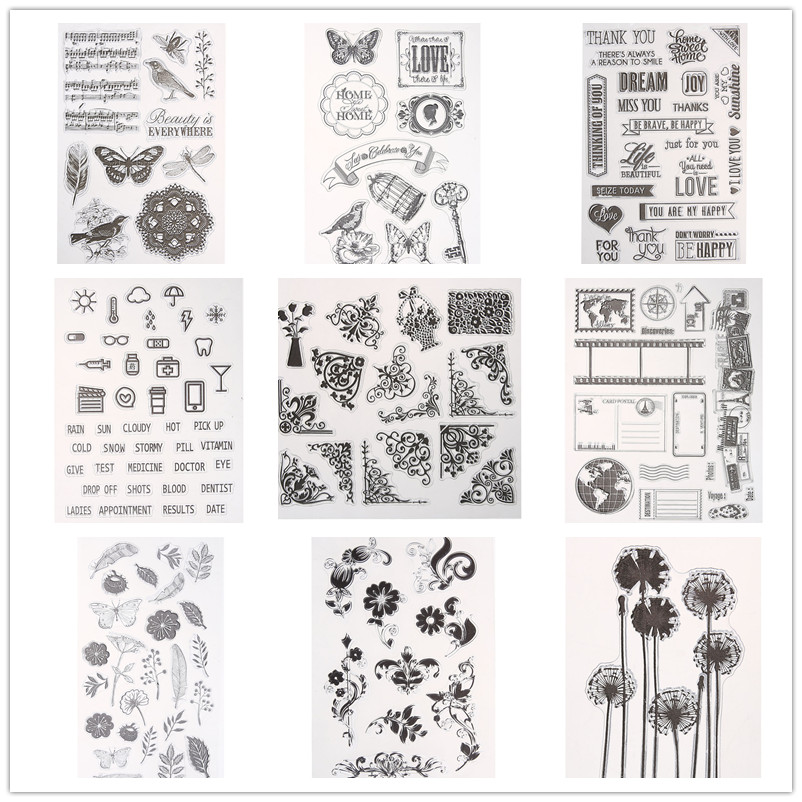18 Styles Clear Stamps for Scrapbooking DIY Seals Card Handmade Cards Decoration Butterfly Flower Silicone Stamp