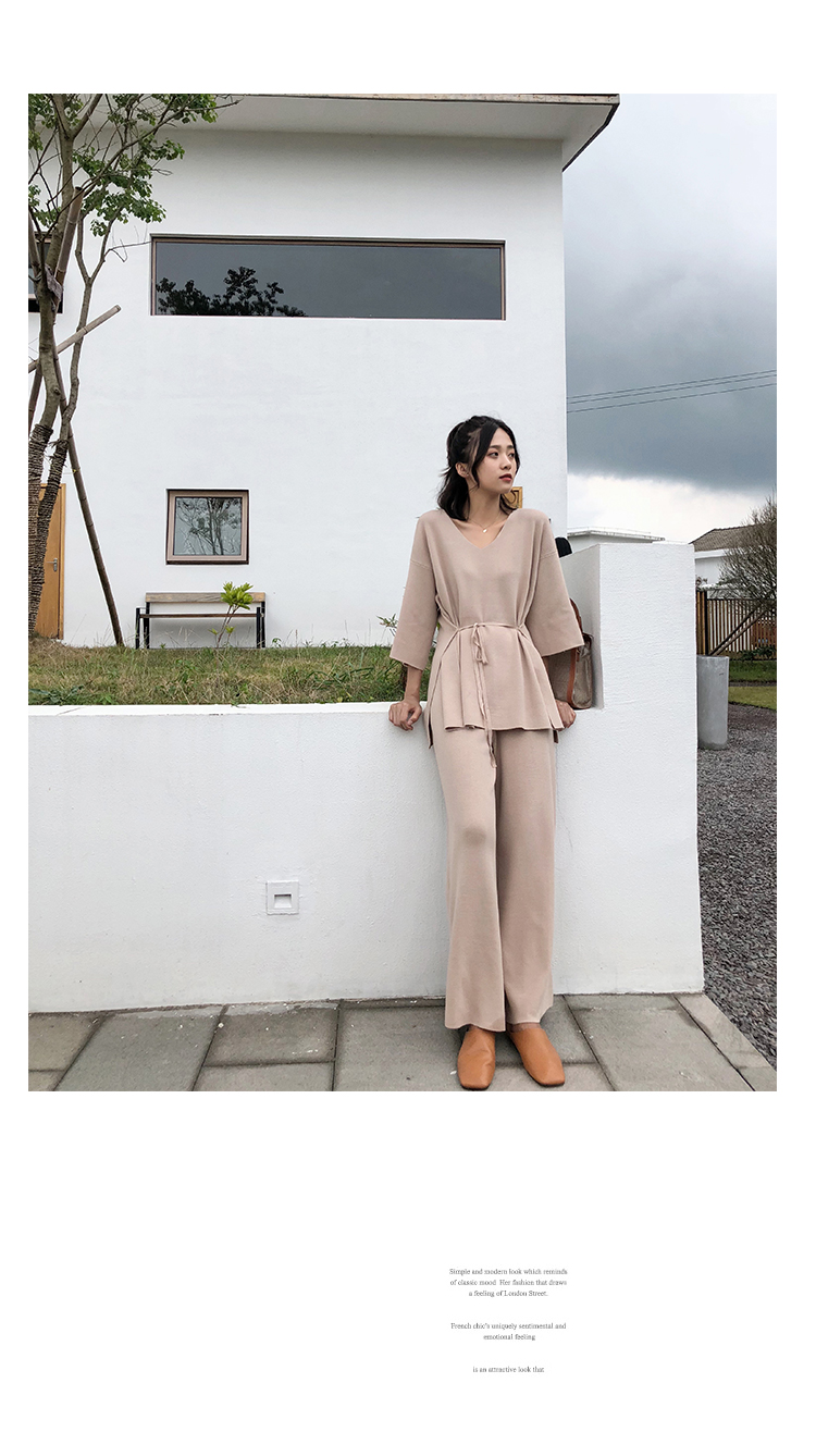 Knitting Female Sweater Pantsuit For Women Two Piece Set Knitted Pullover V-neck Long Sleeve Bandage Top Wide Leg Pants  Suit 14