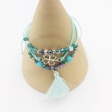 trendy cute 2019 Fashion Boho clover Crystal Beads Charm clovers Bracelets  For Women Gift Jewelry tassel Rope Bracelet Femme стоимость