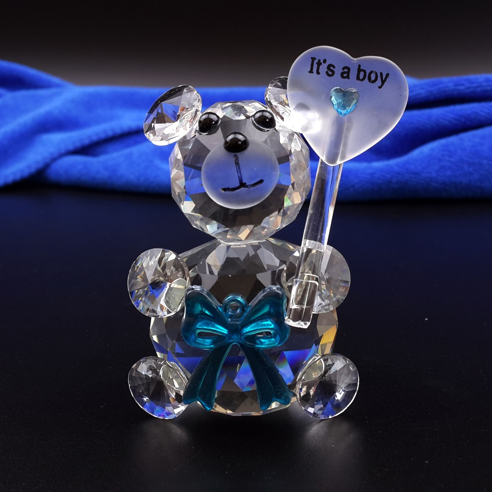 12pcs lot Mini Bear Crystal Baby Shower Boy Girl Baptism Party Wedding Souvenir for Guests