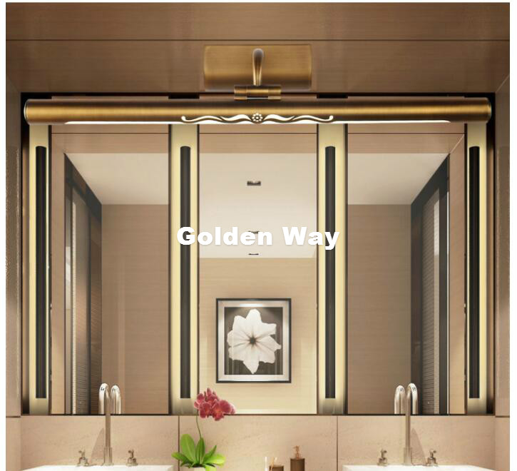 Free Shipping Brass LED Wall Lamps in Bathroom with Swing Arm 45CM 57CM 75CM Long over Mirrors Sconces Wall Light 110V / 220V AC modern led crystal bathroom mirror sconces light 14w over mirrors bathroom led lights lamp wall 56cm super long 110v 220v ac