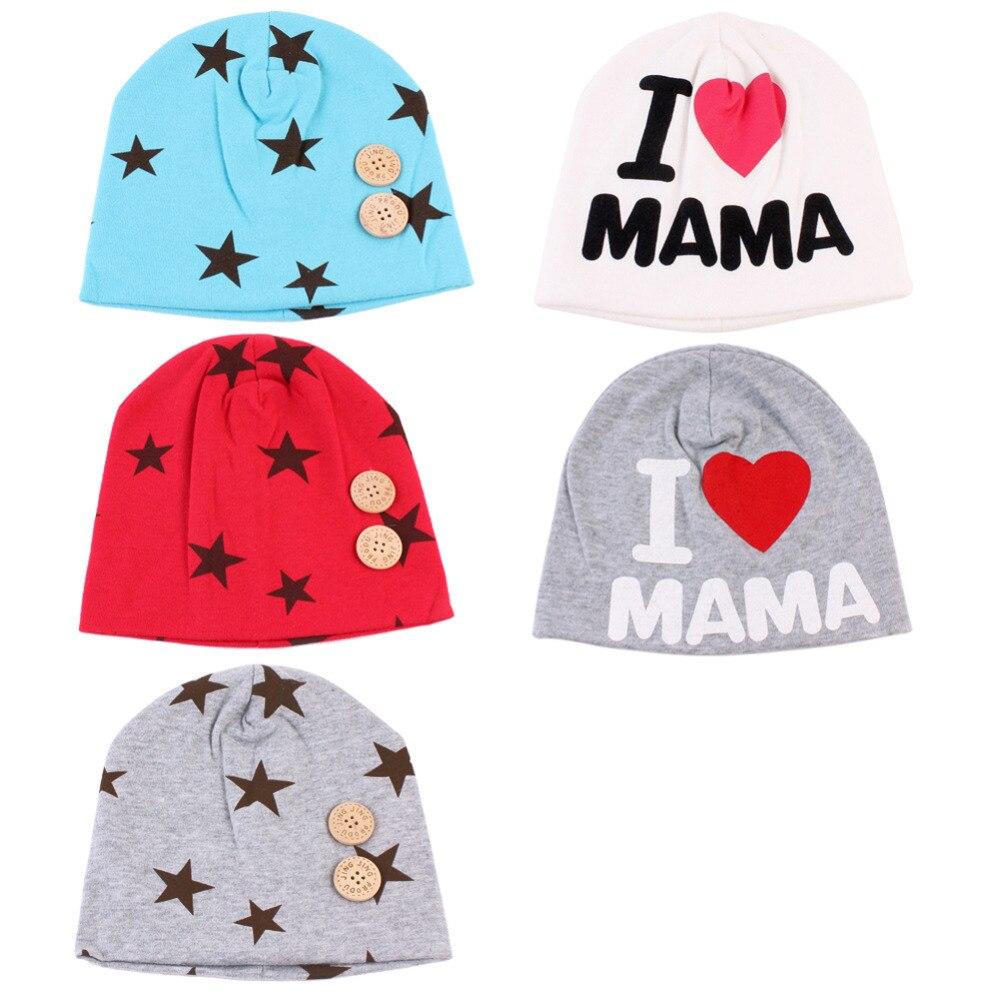 2018 Μωρό καπέλο μόδας άνοιξη Star Mama καπέλα για τα κορίτσια των παιδιών Νοσοκομείο βαμβάκι πλεκτά καπέλα μωρών Αξεσουάρ παιδιών