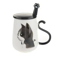 16oz Cute Cat Coffee Mug Ceramic Milk Mug Tea Cup With Handle Lid And Stainless Steel