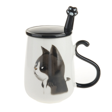 16oz Cute Cat Coffee Mug Ceramic Milk Tea Cup with Handle Lid and Stainless Steel Paw Spoon Birthday Gift DEC315