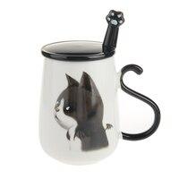 16oz Cute Cat Coffee Mug Ceramic Milk Mug Tea Cup with Handle Lid and Stainless Steel Spoon Birthday Gift DEC315