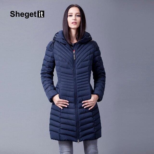 Shegetit mulheres long down parka 2016 mulheres da neve do inverno manter quente casaco fino outerwear para baixo mulheres casaco jaqueta com capuz feminino