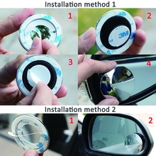 2pcs Mirror Clear Car Rear View Mirror 360 Rotating Safety Wide Angle Blind Spot Mirror Parking Round Convex monitor car styling