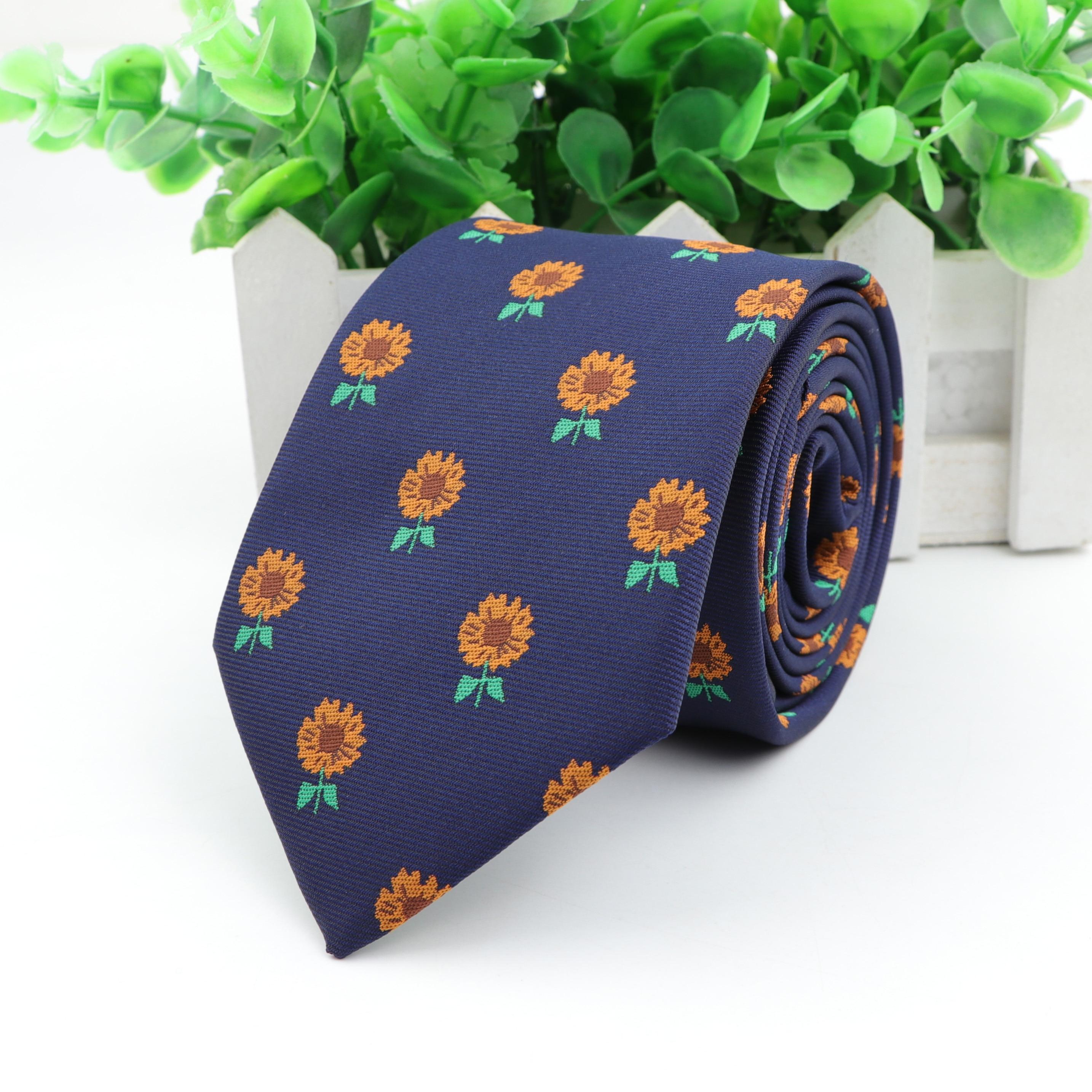 Sunflower Standard Size Necktie Groom Gentleman Ties Men Design Party Polyester Gravata Slim Arrow 7.5cm Silk Tie