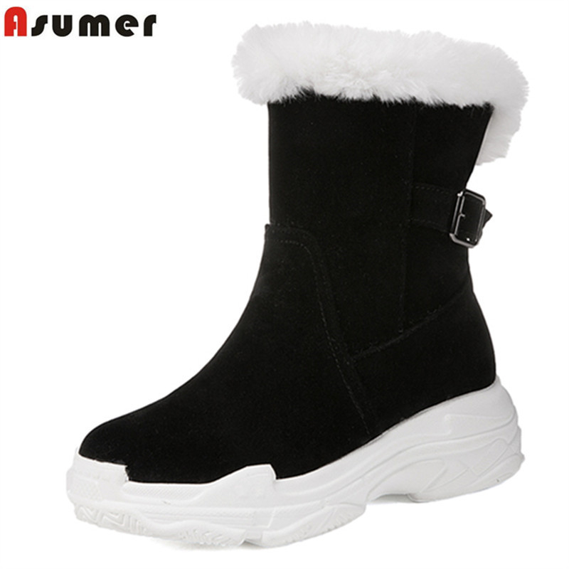 ASUMER 2018 snow boots women round toe zip flock thick fur winter keep warm snow boots flat platform women's ankle boots shoes platform bowkont flocking snow boots page 6