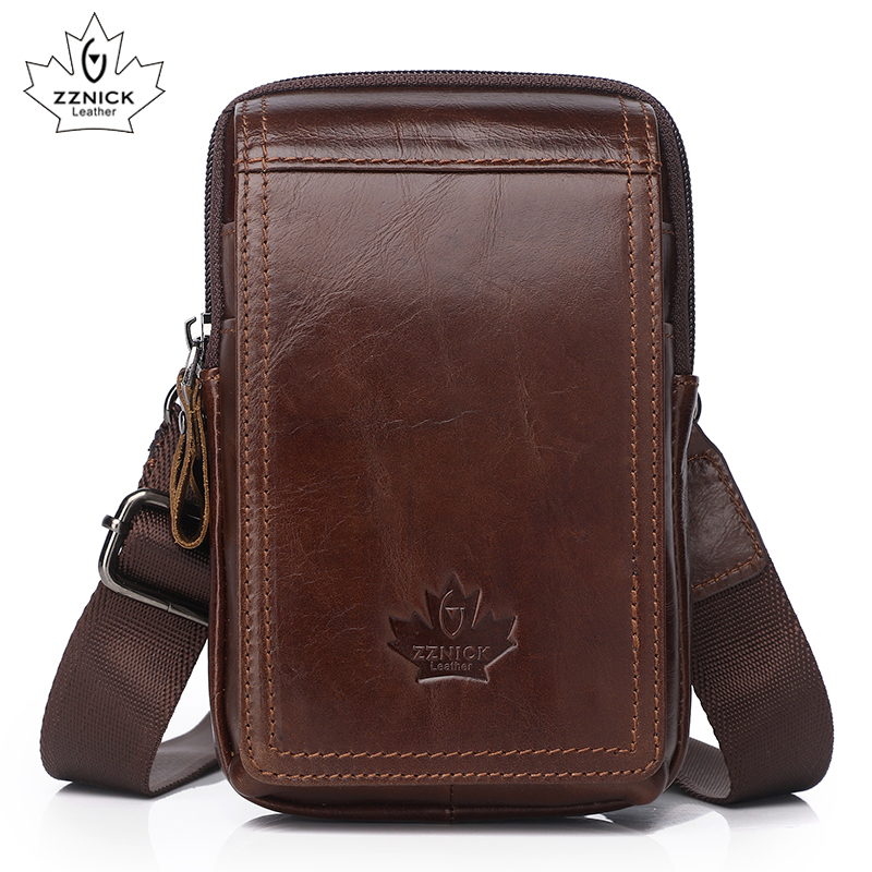 Genuine Leather Belt Bag Small Phone Bags Man 2019 Belt Bags Diagonal Cross Leather Waist Packs Men's Bag Fashion Flap ZZNICK