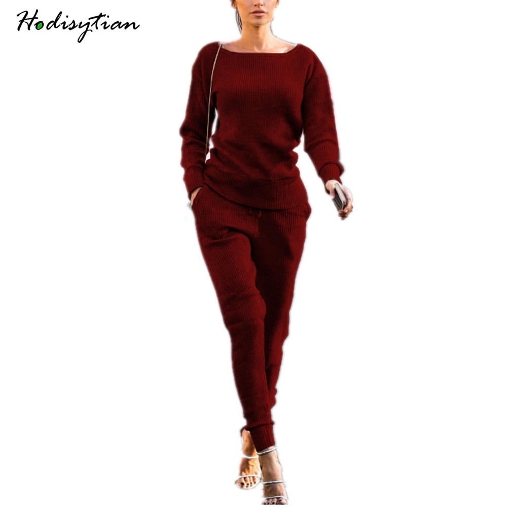 Hodisytian Fashion Women Tracksuit Sexy Hoodie Set Stretch Autumn Tops 2 piece Casual Skinny Knitted Wear