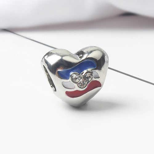 Punk plata Color pequeña declaración Donald pato pájaro búho flor cristal cuentas encantos Fit Pandora pulseras mujeres DIY collar regalo