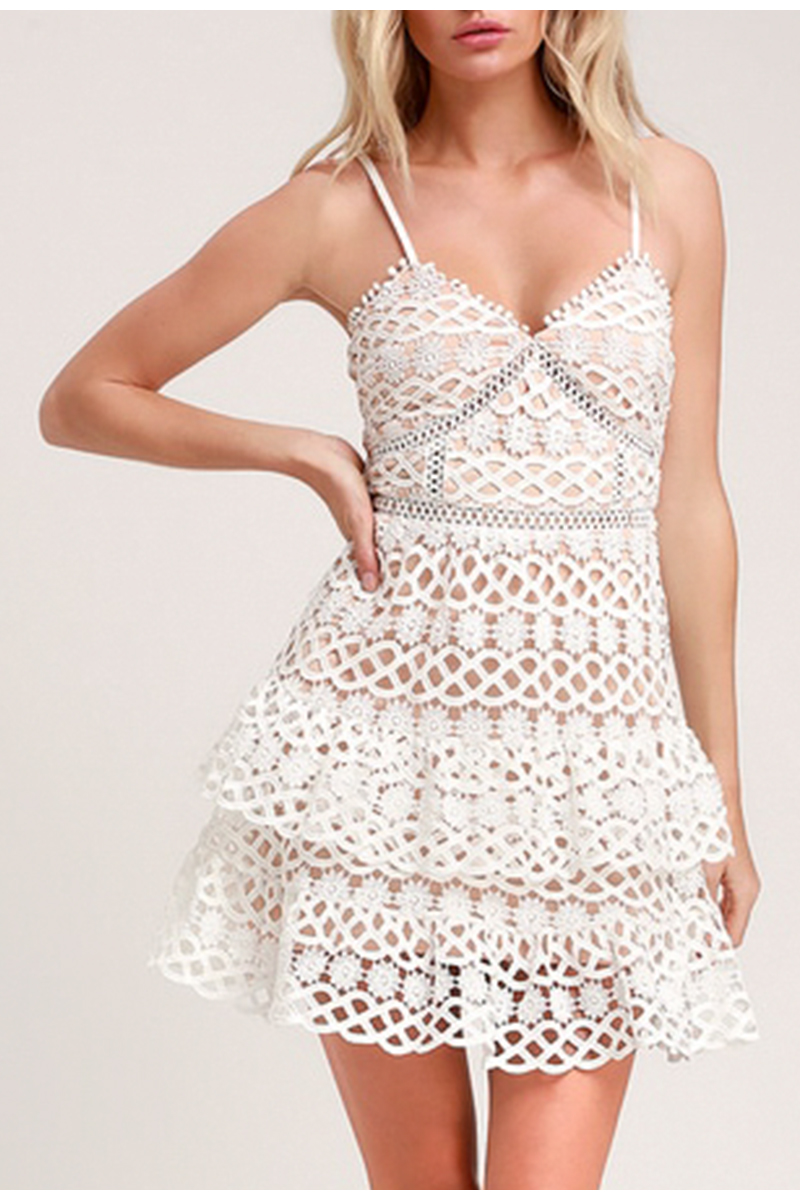 BerryGo Women white lace dress party spaghetti strap Embroidery ruffle sexy dress V-neck hollow out summer dresses ladies 19 3