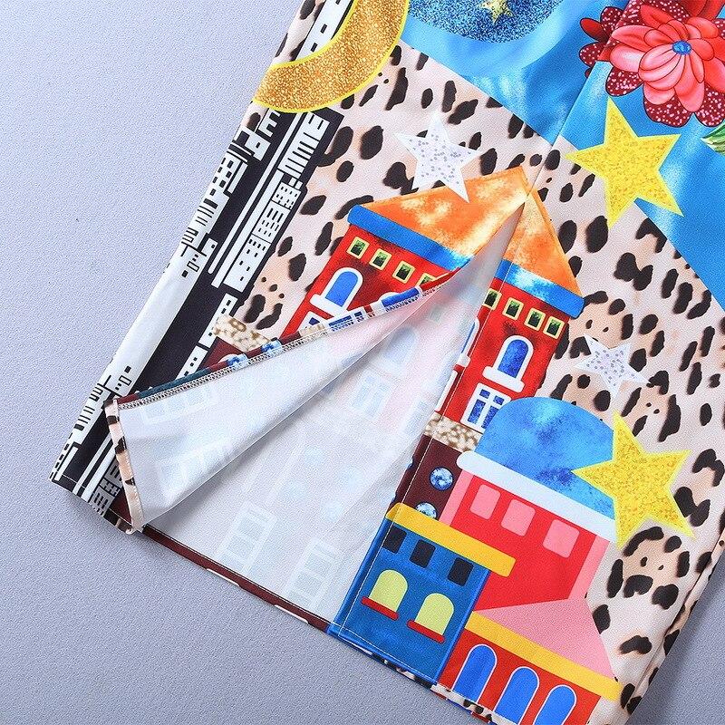 Slim Cordón Vintage Verano Mujeres 2019 Las Línea Diseñador calf Pista Una Mid Midi Impreso Vestido De Lentejuelas qA0xFB