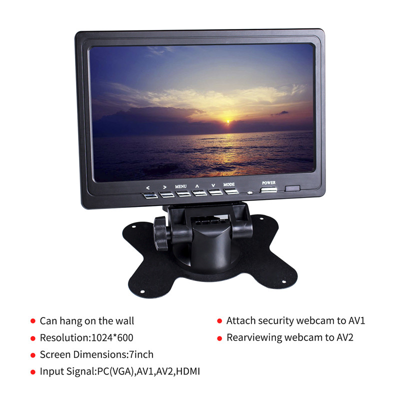 SunFounder 7 Inch Monitor HDMI 1024x600 HD IPS LCD Screen Display AV VGA Input Built in